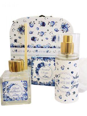 Σετ δώρου βάπτισης Μπλε Λουλούδια